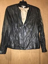Valerie Stevens - ladies Black leather long sleeve coat with lining - size Large