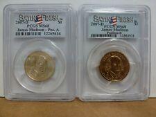 2007-D PRESIDENT JAMES MADISON $1 SATIN POSITION A & B PCGS MS68--2 Coin Set