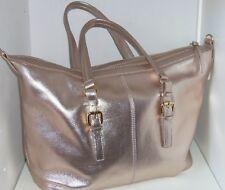 Barr Barr Metallic Leather Satchel Handbag Crossbody Strap Gold Purse