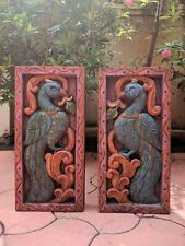 Vintage Peacock Wall Hanging Panel Statue Floral Inlaid Home Decor Sculpture Art