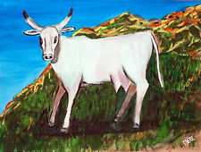 abstract original painting acrylic on paper white cow on hill artist Pete Lenox
