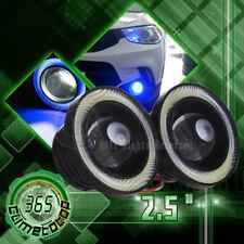 2x Car Angel Eye COB Blue Halo Ring LED DRL Projector Len Fog Driving Light SUV