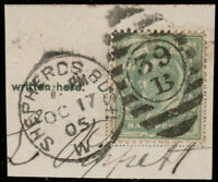 "GB 1905 KEVII SG 216 used "" SHEPHERDS BUSH / 39B"" London Numeral Duplex Postmark"