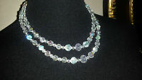 Vintage Iridescent Double Strand Glass Beaded Necklace
