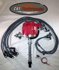 CHEVY V8 GM HEI DISTRIBUTOR RED + PLUG WIRES 1955-1982 - CRT PERFORMANCE QUALITY