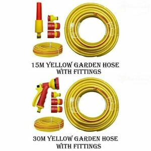 15M 30M Anti Kink Reinforced Yellow Garden Hose Water Pipe Outdoor Hosepipe New