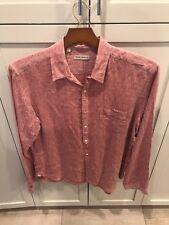 Men's Oliver Spencer Red Linen shirt button front 17.5