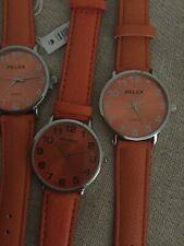 Orange Strap Watch X 5. Unisex Clear Face Wholesale