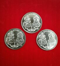 3x Lucky Laxmi Ganesha german silver Coins for return gifts / wealth Usa Seller