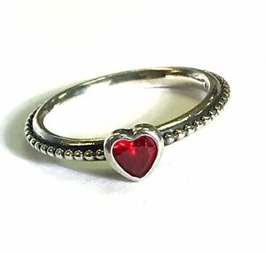 Pandora One Love Ruby (synthetic) Heart Ring Size 4.5