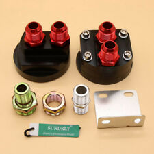 10-AN10 Oil Filter Relocation Kit+Universal Cooler Sandwich Plate Adapter Black