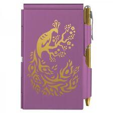 #8053 -- WELLSPRING PURPLE GOLD PEACOCK ALUMINUM FLIP NOTE CASE PAD WITH PEN