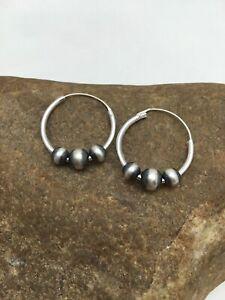 Hoop Earrings Sterling Silver Navajo Pearls Earrings 3108