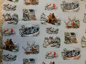 New Winter Companions Animals in the Snow 100% Cotton Fabric By The Half Yard