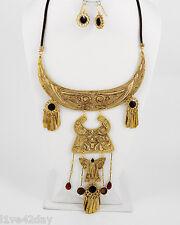 Gold Metal Extra Large Necklace Mayan Rhinestones Huge Collar Big Cleopatra