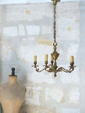 Late 19TH Antique French 5 Arms Ormolu Bronze Chandelier Ceiling Rococo Louis XV