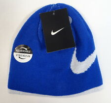 Nike Swoosh Reversible Blue & White Knit Beanie Skull Cap Youth Boys 4-7 NWT