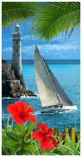 "30x60"" Lighthouse & Sailboat Premium Velour Beach Towel"