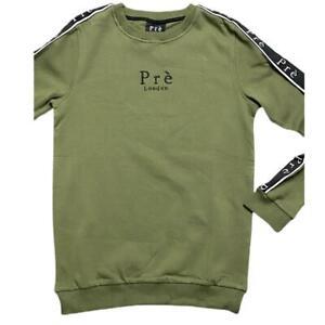 Mens Pre London King Designer Crew Neck Sweatshirt Jumper Gym Top Green / Black