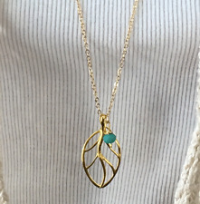Women's Fashion Jewelry long chain Sweater necklace with leaf pendant Made in US
