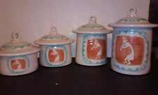Set of four kokopelli hand made and painted jars stunning south western art deco