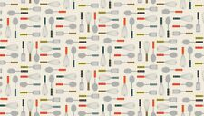 Lila's Kitchen Utensils on Cream 100 Cotton Fabric by Makower FQ