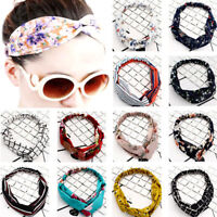 Women's Popular Yoga Elastic Floral Hair Band Headband Turban Twisted Knotted BW