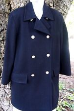 EXC! Womens Small Size Six Double Breasted Pea Coat Black Wool Benard Holtzman