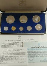 1979 Philippines Proof Set by Franklin Mint, 8 coins 25 & 50 Piso Silver box coa