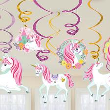 Magical Unicorn Party Hanging Swirls Cutouts Girls Birthday Decoration x 12