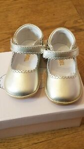 New Angel black gold leather mary jane shoes F-202,size infant 4,NIB