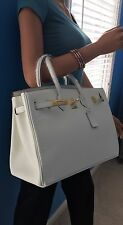 NEW SOFT WHITE ITALIAN LEATHER 35CM DESIGNER INSPIRED HANDBAG TOTE PURSE (GHW)