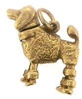 Vintage Poodle Dog 3D Movable Charm Pendant 14K Yellow Gold