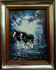 """PETER GASSON..ORIGINAL OIL ON BOARD - WORKING HORSES - """" A WORLD OF 3"""", 1995"""