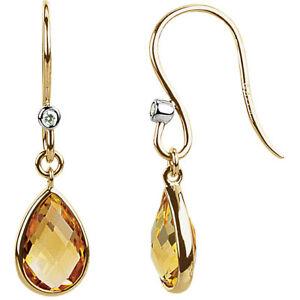 Genuine Citrine & Diamond Earrings In 14K Yellow Gold