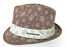 QUICKSILVER Brown Patterned Fedora Trilby Gray Hatband Silk Lining Hat Size S/M
