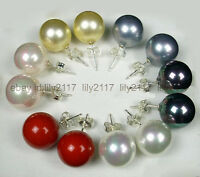 WHOLESALE 6PAIRS 10MM MIX COLOR SOUTH SEA ROUND SHELL PEARL SILVER STUD EARRINGS