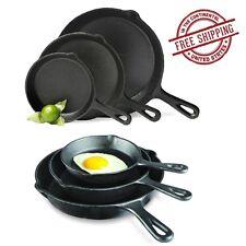 Pre-Seasoned Cast Iron 3 Piece Skillet Fry Frying Pans Pots Set Stove Top Oven