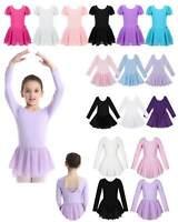 Girls Kid Gymnastics Dance Dress Ballet Tutu Skirt Leotard Long Sleeve Dancewear
