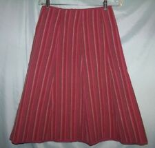 Christopher & Banks Red Striped Cotton Blend Below Knee A-Line Skirt Size 4