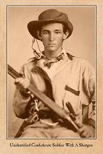 CIVIL WAR VINTAGE PHOTOGRAPH Unidentified Johnny Reb Confederate With A Shotgun