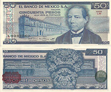 Mexico P73, 50 Pesos, Benito Juarez / Aztec temple and wind goddess UNC 1981