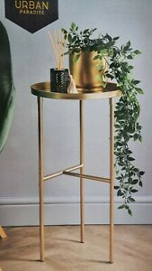 Large Gold Metal Tall Plant Table Side Table Display Stand Planter Holder Decor