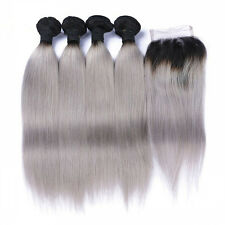 1B/Grey  Ombre Brazilian Virgin Hair STRAIGHT Bundles 16,18,20&14 Lace CLOSURE