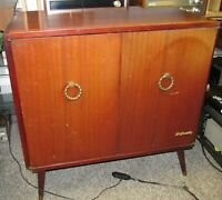 Mid Century Vintage OLYMPIC 510 Console Tube Radio Record Player/Turntable