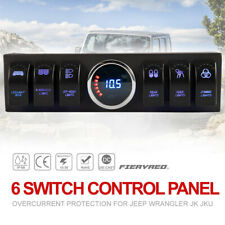 6 Rocker Switches Panel On/Off LED Light Control Board for Jeep Wrangler JK JKU
