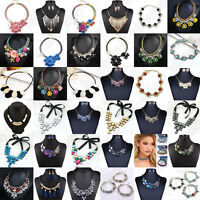 Fashion Women Crystal Necklace Pendant Bib Choker Chunky Statement Chain Jewelry