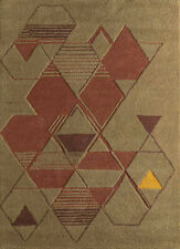 Hand Tufted Modern Beige and Brown Colour 5X8 Feet Geometric Pattern Area Rug