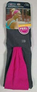 Scunci Everyday & Active Gray & Pink Stretchy Fabric Headband Wrap #39536