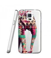 Coque Galaxy S5 Elephant rose vert blanc Aztec indien transparent